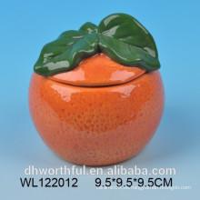 Envase hermético cerámico de alta calidad de forma anaranjada