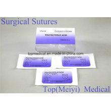 Sutura quirúrgica de ácido poliglicólico con aguja