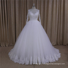 Высокая Шея С Длинным Рукавом Кружева Свадебное Платье