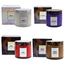 Coffret cadeau de bougie de pot en verre parfumé de relief de luxe avec la marque de distributeur