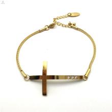 Geburtstagsgeschenk Edelstahl Zirkon Schlangenkette Jesus Kreuz Armband