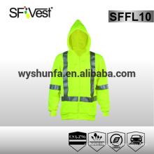 hooded sweatshirt safety wear hi vis hooded sweatshirt mens fitted sweatshirt 100% polyester fleece 3M reflective tape