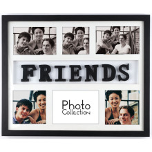 6-Opening Wooden Multi Photo Frame With Letters Friends
