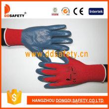 13 Gauge Red Nylon Shell Grey Nitrile Coating Gloves Smooth Finish