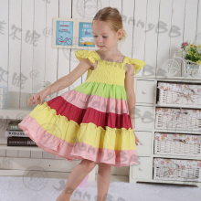 Cute Girls' Vintage  Rainbow Princess Cotton Linen Dress