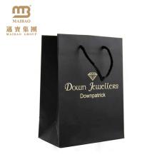 Guangzhou Custom Logo Nice Impression De Luxe Bijoux Shopping Décoratif Noir Mat Détail Papier Cadeau Sacs