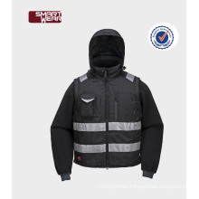 mens Detachable sleeves uniform winter jacket with 3m reflective tape
