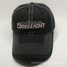 3D embroidery black baseball cap in slide D-Ring metal buckle