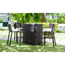 High End Hot Sales Design Poly Synthetic Resin Rattan Bar Set For Outdoor Garden Patio Wicker Furniture