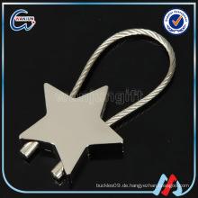Sternform vernickeltes Stahldraht keychain