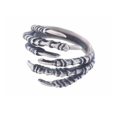 925 Sterling Silver Male Ring Modélisation Sharp Griffe Couleur Rétro Couleur Demi-cercle