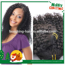 natural black color kinky curl brazilian human hair weaving