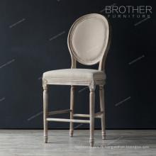 Chaise de style campagnard antique en bois de chêne rembourré velours tissu tabouret chaise
