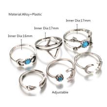 Estilo folk Retro geométricas Luna turquesa flecha anillo conjunto