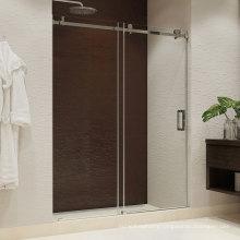 Seawin Alluminum Black Shower Room Single Sliding Glass Doors Roller Floor Guide Shower Door