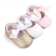 Bowknot & PU Soft Sole Baby Shoes Mocasines para niños pequeños