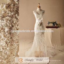 Luxury Mermaid Wedding Dress See Through Sequins Bow Long Bridal Gown Custom Made 2017