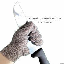 Luvas de processamento de carne de malha de anel / luva de aço inoxidável anti cortado