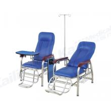 Cadeira de transfusão manual hospitalar infusão reclinável em aço inoxidável