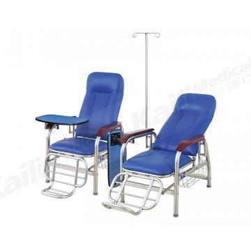 Silla de transfusión manual de hospital Sillón reclinable de infusión de acero inoxidable