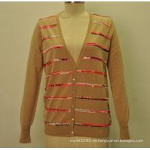 100% lana Nueva V-cuello de las mujeres rebeca de punto con lentejuelas