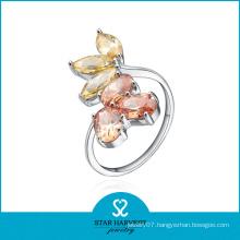 Wholesale Flower Shape Six Yellow Sapphire Ring