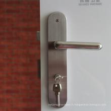 Serrures de porte en acier inoxydable de haute qualité enty bois poignée dpor avec plaque