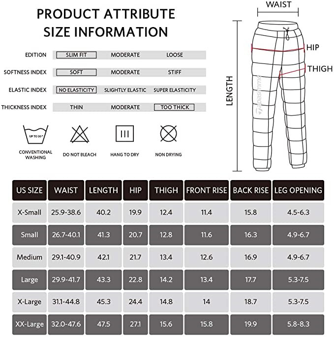 Men S Women Winter Warm Utility Down Pants Sassy High Waisted Nylon Compression Snow Trousers4