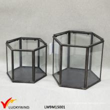 Vintage Hexagonal Clear Glass & Metal Lantern