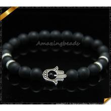 Bracelets en perles matées en agate noir avec charmes Hamsa (CB086)