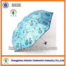 Outdoor-drei Falten Regenschirm mit Blumenmuster