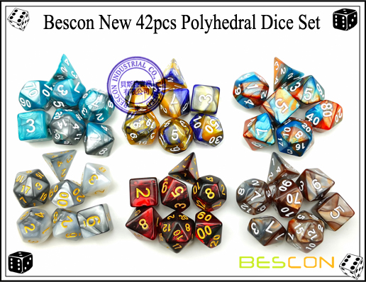 Bescon New 42pcs Polyhedral Dice Set-5