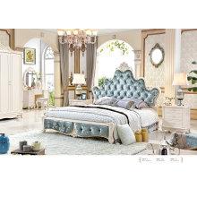 Французской роскоши королевского стиля белые кожаные кровати Спальные гарнитуры с белыми мебель твердой древесины (6011)