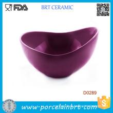 Cuenco de ensalada púrpura de la porcelana de la forma de la boca grande
