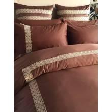 Peau de pêche dentelle solide Set Bed Sheet couette la couverture de l'ensemble de literie