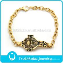 2017 Popular Sale Gold Bracelet Design Jesus on The Cross Black Images