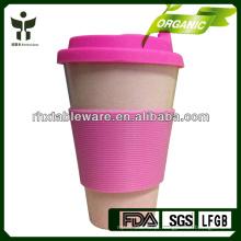 Copo de beber de fibra de bambu biodegradável com tampa de silicone e manga