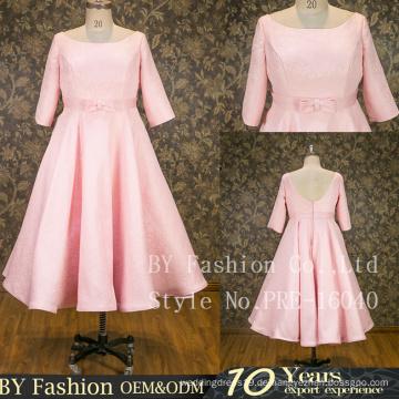 Elegante rosa kurze Ärmel gute passende Ballkleid Bogen Knoten Gürtel Partei Kleid