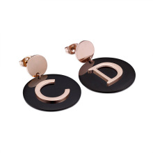 Rose gold big round initial stud earrings