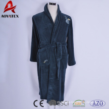 Beautiful flower embroidery solid flannel fleece bathrobe for adult use