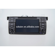 Navigation quad gps voiture avec caméra de recul sans fil, wifi, BT, miroir-lien, DVR, double zone, SWC pour BMW E46