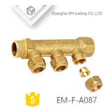 "EM-F-A087 MF 3/4"" brass male compression brass pipe fitting water manifold heating"