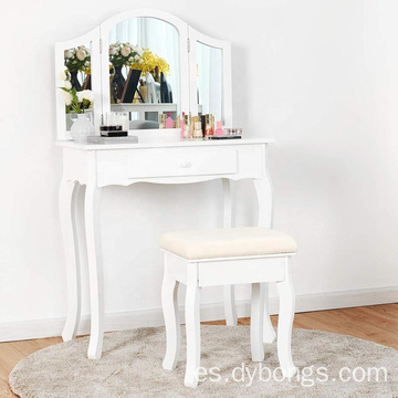 Dressing Makeup Vanity Table Set Mirror Table Set 4 Drawer