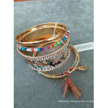 Multi Rows of Bangle with Seedbead & Multi Colors of Stone & Tassel