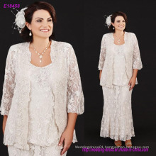 Three Pieces Full Lace Mother of The Bride Dresses with Plus Size Scoop Neck