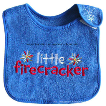 OEM Produce Customized Design Embroidered Cotton Terry Blue Baby Bandana Bib