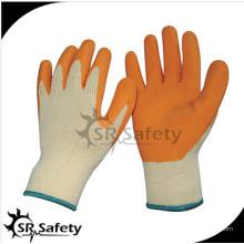 SRSAFETY 10-серый серый поликатоновый лайнер, покрытый синим латексом на ладонных перчатках, сморщенный / синий латексные рабочие перчатки