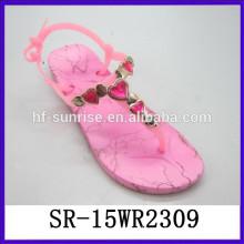 Las sandalias del poste del dedo del pie de las mujeres de la señora de la sandalia del soplo del aire del PVC sandalias claras de la jalea del PVC de las sandalias