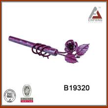 B19320 silver burgundy cheap wrought iron curtain pole, flower curtain rod finial