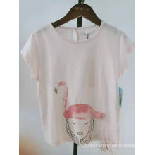 girls cotton knit flamingo print short sleeve top